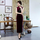 Robe Chinoise Velours Sans Manches rouge
