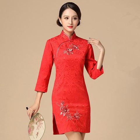Robe Chinoise Manche Longue rouge