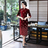 Robe Chinoise Velours Fleurs rouge