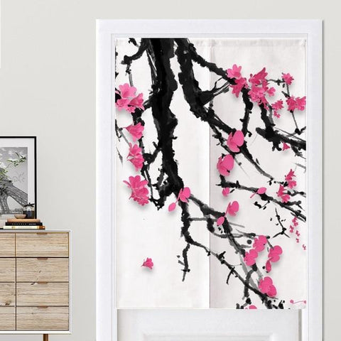 Rideaux Chinois Fleurs Roses
