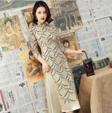 Robe Chinoise Tunique Traditionnelle beige