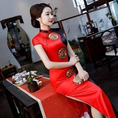 Robe Chinoise <br> Bicolore Rouge / M