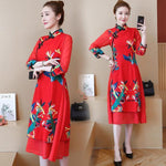 Robe Chinoise <br> en Coton Rouge / S