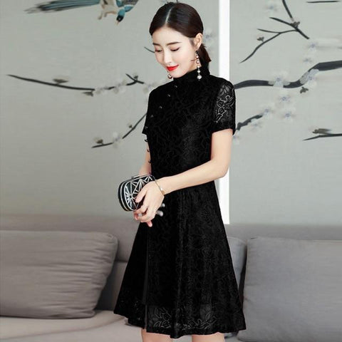 Robe Chinoise <br> Moderne Noir / L