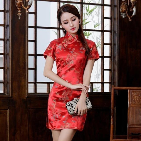 Robe Chinoise <br> Rouge Courte S