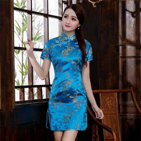 Robe Chinoise <br> Turquoise S