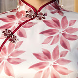 Robe Chinoise Fleurs Roses col mao