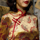 Robe Chinoise Dorée et Rouge col mao