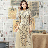 Robe Chinoise Tunique Traditionnelle beige classe