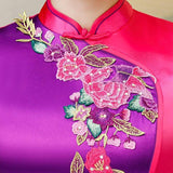 Robe Chinoise Violette et Rose col mao