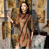 Robe Chinoise Marron ancienne