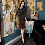Robe Chinoise Feuilles rouge