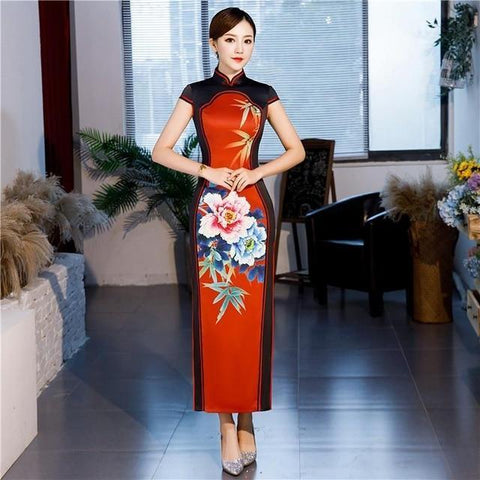 Robe Chinoise <br> Qipao Long Rouge / XXL