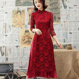 Robe Chinoise Tunique Traditionnelle roug