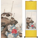 Tableau Chinois <br> Chat 140cmx45cm / Fond Jaune