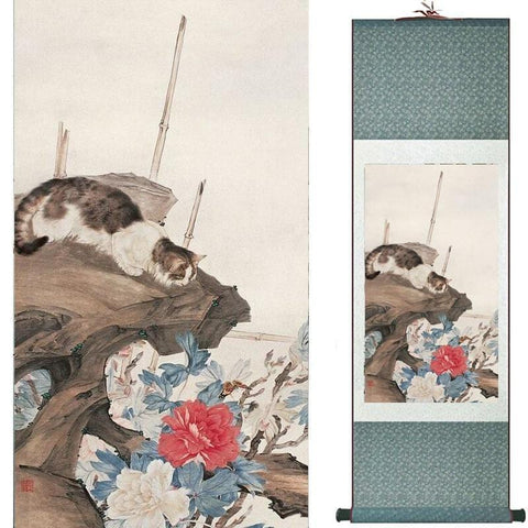 Tableau Chinois <br> Chat 140cmx45cm / Fond Vert