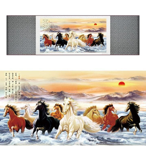 Tableau Chinois <br> Cheval 100cmx30cm / Fond vert