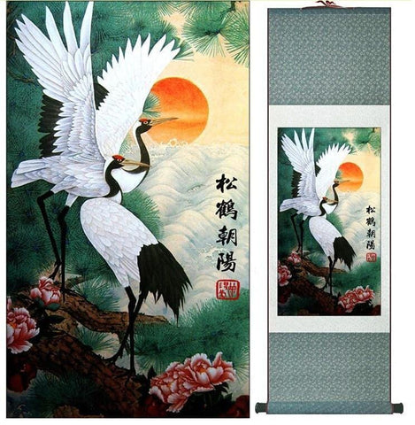 Tableau Chinois <br> Grues Majestueuses 100cmx30cm