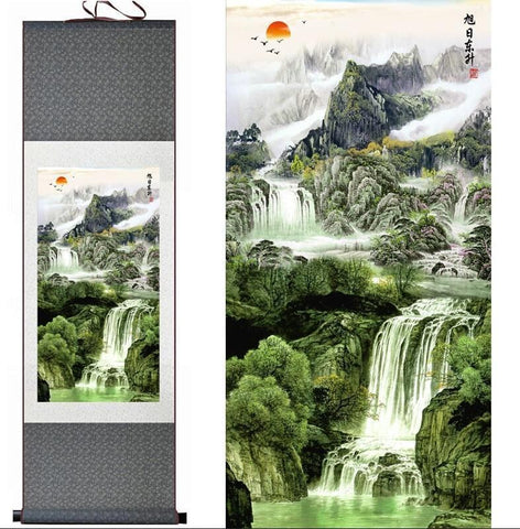 Tableau Chinois <br> Paysage 100cmx30cm / Fond Vert