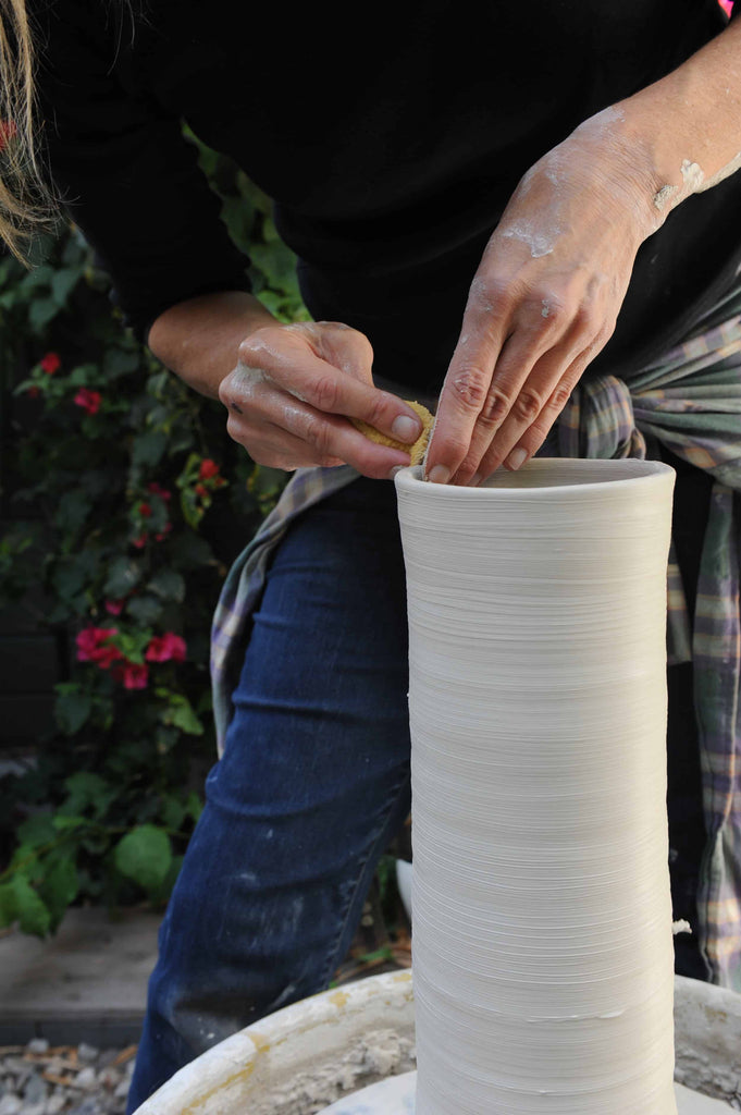 Moye Thompson making personalize wedding gifts for newlyweds at her pottery studio in los angeles