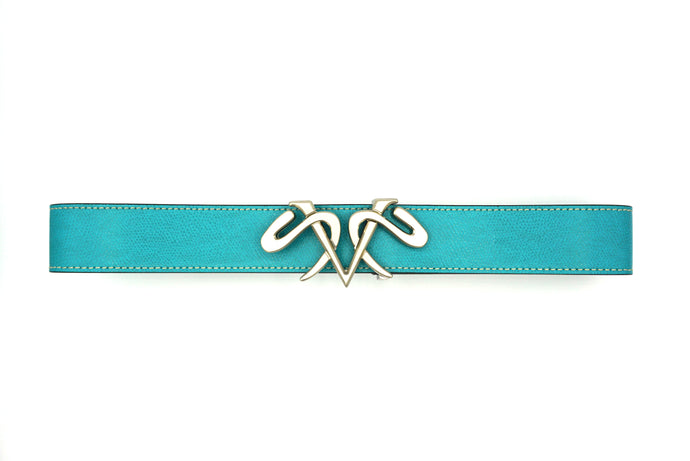 Capri Blue Leather Belt with Satin Silver Buckle