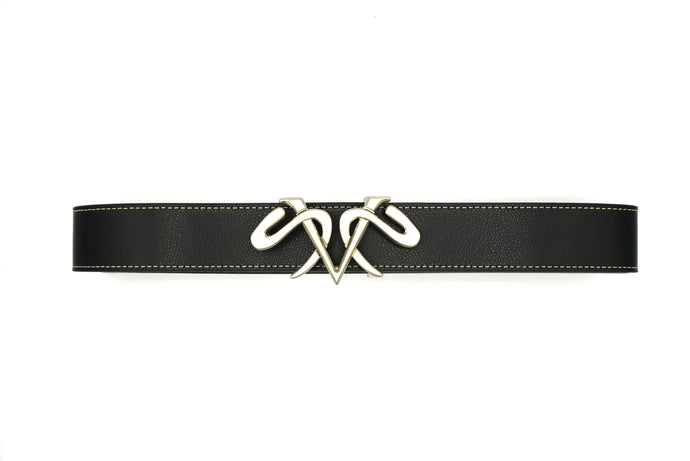 Black Leather Belt with Satin Silver Buckle