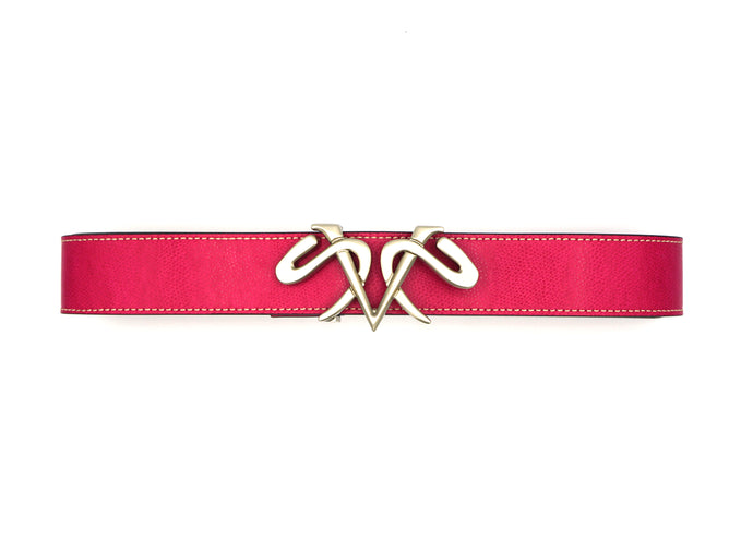 Fuchsia Leather Belt with Satin Silver Buckle