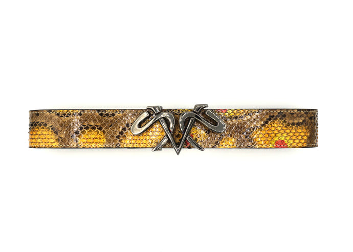 Dakar Brown Snake Skin Belt with Ruthenium Buckle Available only Size 95/37