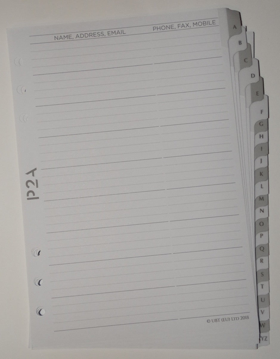 A5 A to Z Contact Dividers
