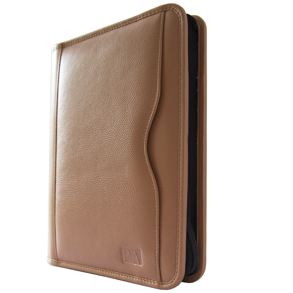 Marlow Tan A5 Zipped Binder