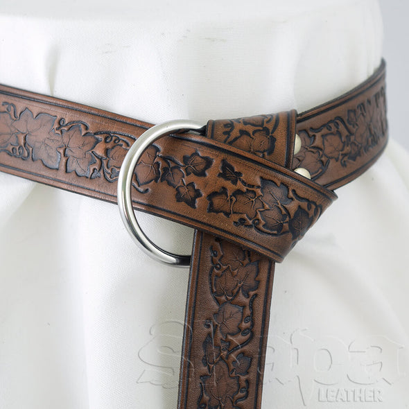 "1.5"" Running Ivy Embossed Ring Belt"