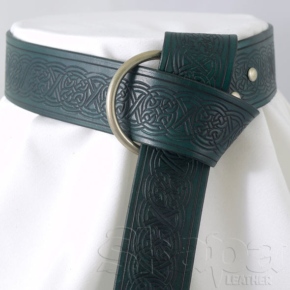 "2"" Wide Celtic Knot Leather Ring Belt"