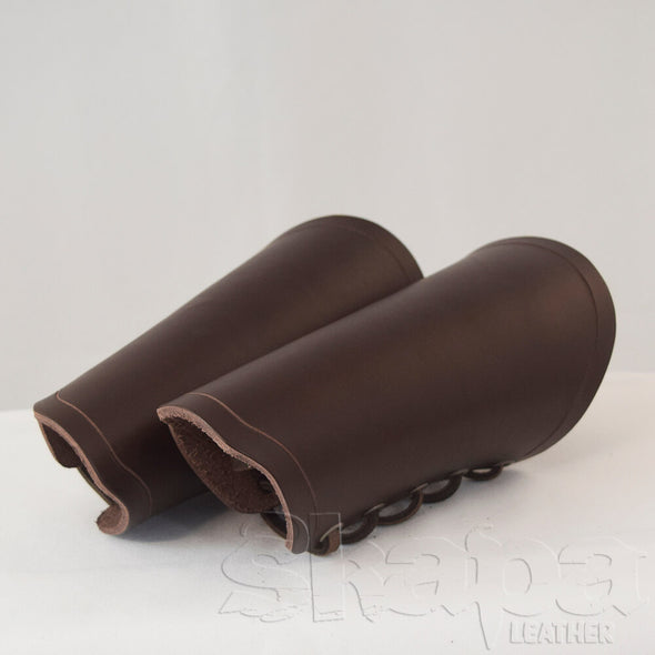 Wanderer's Black/Brown Medieval Leather Bracers