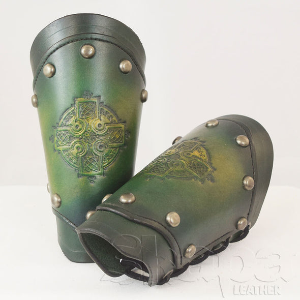 Dark Knight's Sunburst Leather Bracers