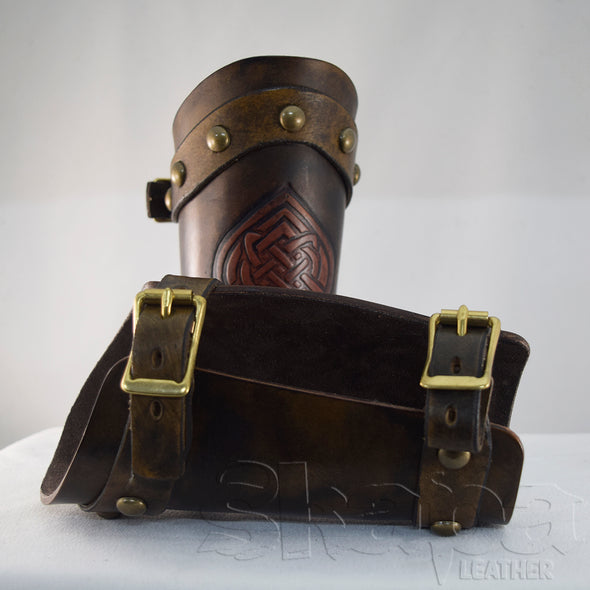 Noble's Buckled Aged Brown Celtic Knot Leather Bracers