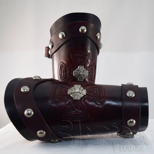 Knights Templar Hand Tooled Leather Bracers