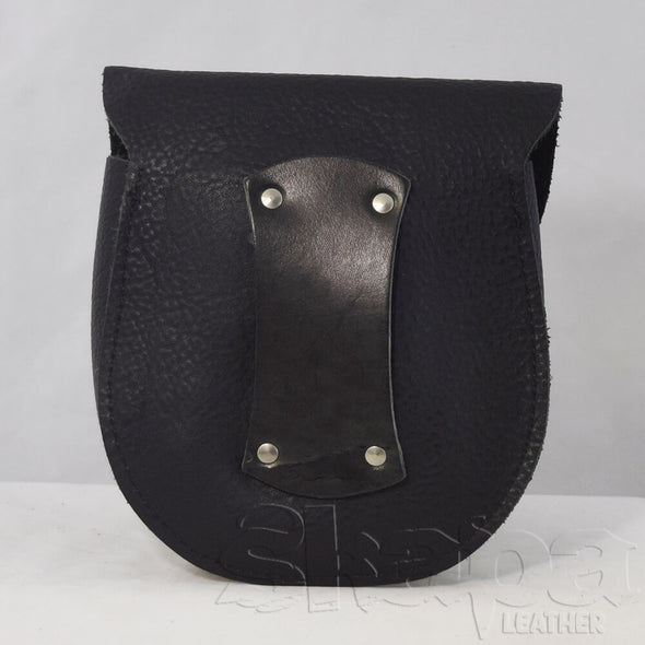 Night Watchman's Studded Black Leather Pouch
