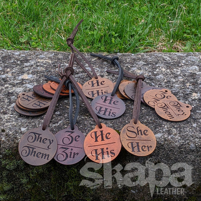 Leather Pronoun Tags