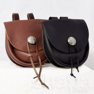 Squire's Black/Brown Leather Concho Pouch
