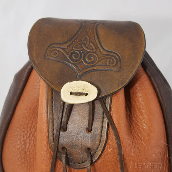 Hersir's Spacious Drawstring Leather Pouch