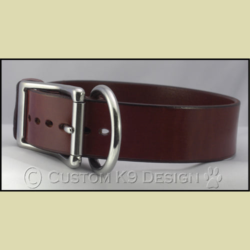 "BLACK Leather Dog Collar 1.5"" Wide - SPECIAL BUY"