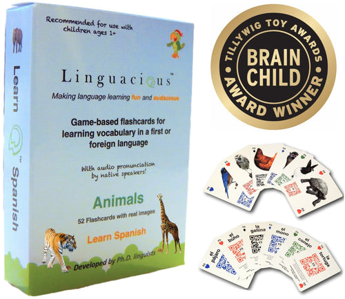 Spanish Animals Flashcard Game - with audio