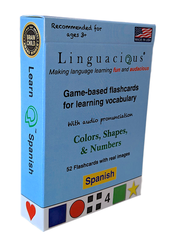Spanish Numbers, Shapes, & Colors Flashcard Game - with audio