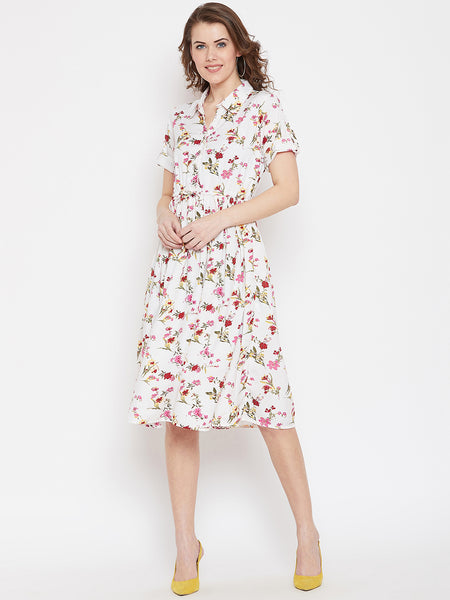 Peplum Gather Detail Floral A-line White Women's Dress