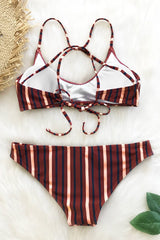 Retro Girl Striped Bikini