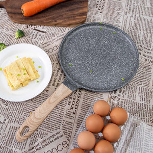 CREPE NON STICK FLAT PAN WITH WOODEN HANDLE