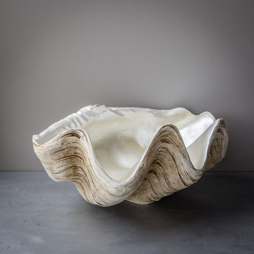 50cm Faux Giant Clam - Natural Base with Pearly Interior