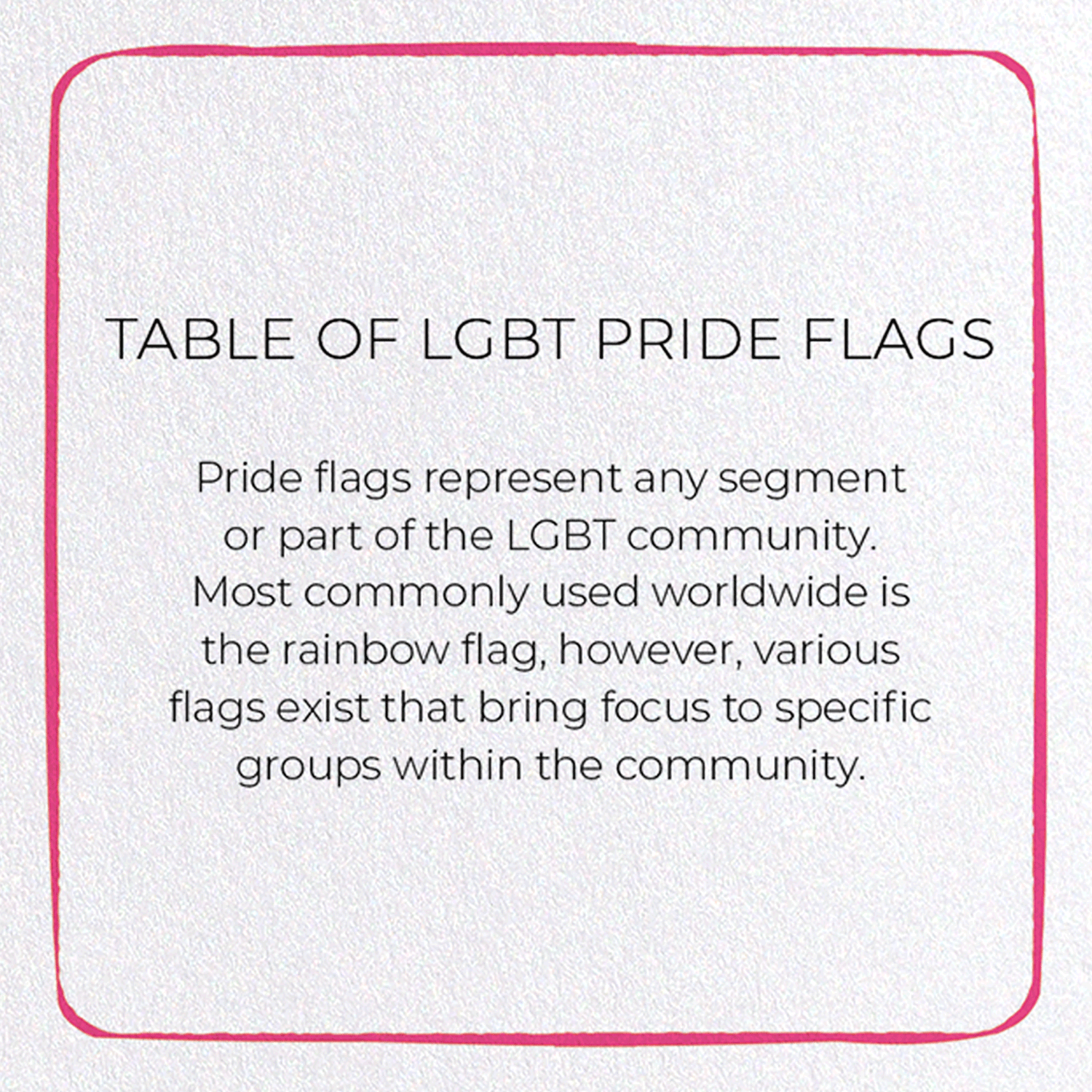 TABLE OF LGBT PRIDE FLAGS: 8xCards