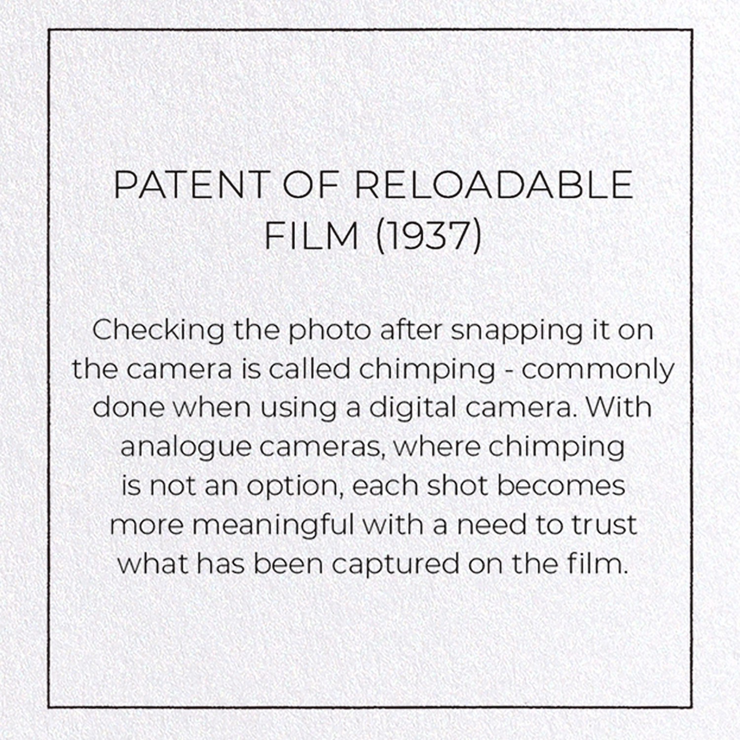 PATENT OF RELOADABLE FILM (1937): 8xCards