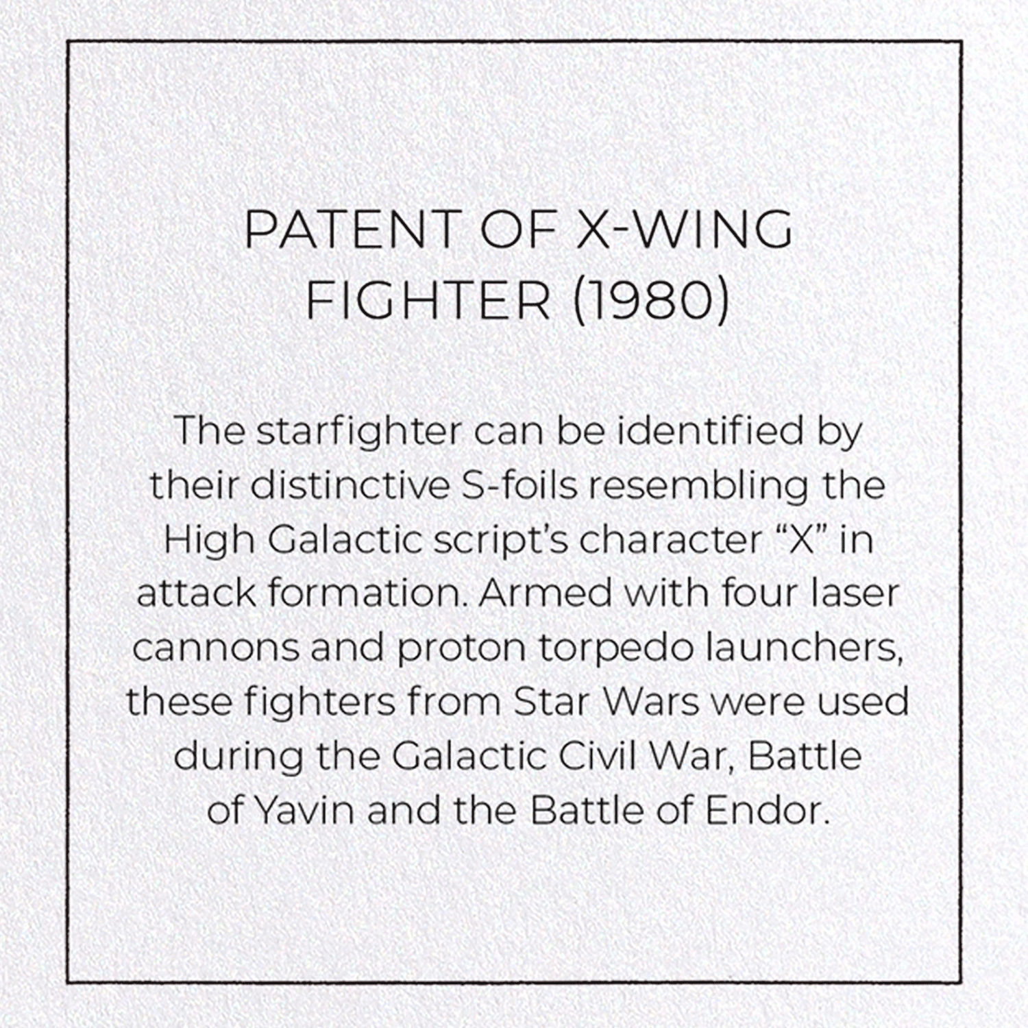 PATENT OF X-WING FIGHTER (1980): 8xCards